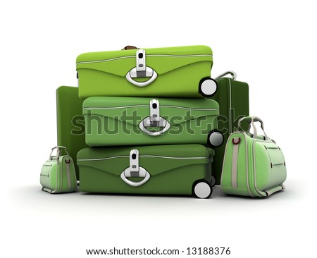 Luggage kit in green shades - stock photo