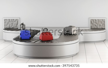 Luggage on the conveyor. Baggage claim. 3d rendering. - stock photo