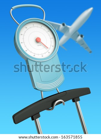 Luggage scales with suitcase handle and an airplane in the background. Air travel luggage weight limits concept. 3D rendered illustration. - stock photo