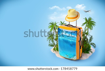 Luggage suitcase with ocean inside. Tropical background. Traveling - stock photo