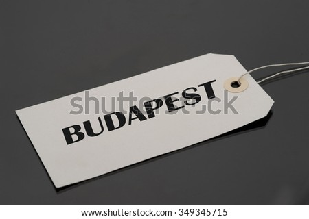 Luggage tag with word Budapest