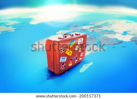 Luggage. Travel concept, world map - stock photo