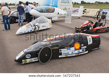 LUGO. RA. ITALY  SEPTEMBER 19: the high efficiency vehicle Clipper-D powered by GTL (Gas To Liquid) that took part at the Shell Eco-Marathon, at Expo' AEM-ZERO on September 19, 2013 in Lugo RA Italy  - stock photo