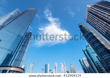 Luijazui Skyline in Shanghai, China.  Since the early 1990s, Lujiazui has been developed specifically as a new financial district of Shanghai.