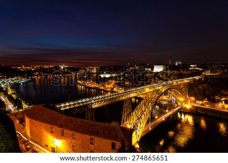 Luis I Bridge on a sunset, the top view, Portugal, Porto - stock photo
