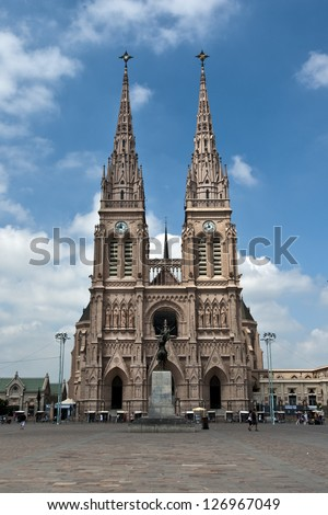 Lujan Basilica as seen from Belgrano square near Buenos Aires, Argentina - stock photo