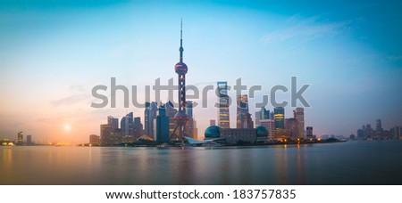 Lujiazui Finance&Trade Zone of Shanghai bund landmark city at sunrise panorama skyline - stock photo