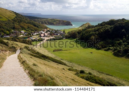 Lulworth Cove Dorset photographed from the route of the South-West coastal path - stock photo
