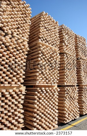 Lumber being processed at a forest products sawmill-pallets - stock photo
