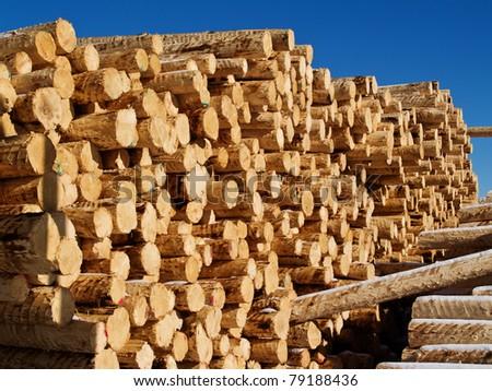 lumber in  factory yard - stock photo