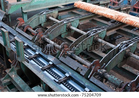 Lumber industry - cutting line - stock photo