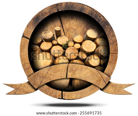 Lumber Industry - Wooden Icon. Wooden icon or symbol with trunks of trees cut and stacked inside, empty wooden ribbon for text. Isolated on white background - stock photo