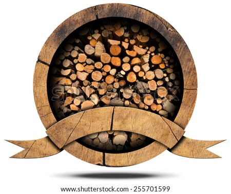 Lumber Industry - Wooden Icon. Wooden icon with dry cut firewood logs in a pile inside, empty wooden ribbon for text. Isolated on white background - stock photo