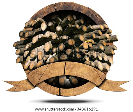Lumber Industry - Wooden Icon / Wooden icon with dry cut firewood logs in a pile inside, empty wooden ribbon for text. Isolated on white background - stock photo