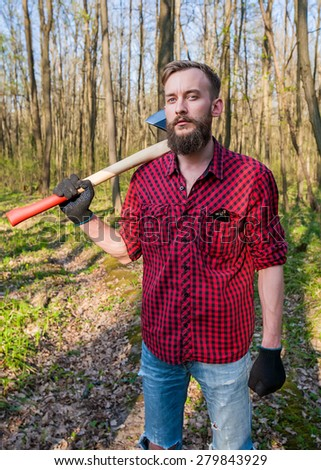 lumber jack hipster lumbersexual men man wood forest axe