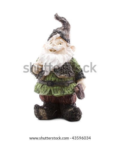 Lumberjack Lawn Gnome on White - stock photo