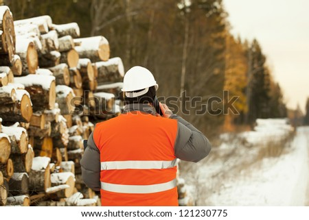 Lumberjack  talking on a mobile phone near log pile - stock photo