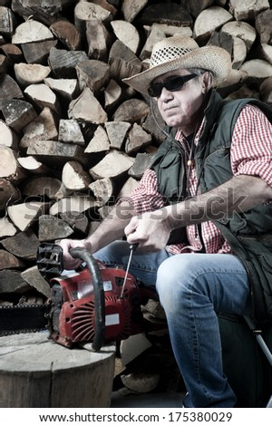 Lumberjack with chainsaw - stock photo