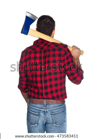 Lumberjack with plaid shirt from behind on white background