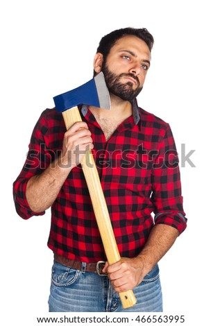 Lumberjack with plaid shirt shaves his beard with the ax blade on white background.