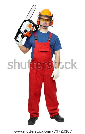 Lumberjack Worker in protective safety equipment With Chainsaw isolated - stock photo