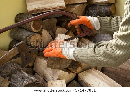 lumberjack working with wood-woodcutter-timber - stock photo