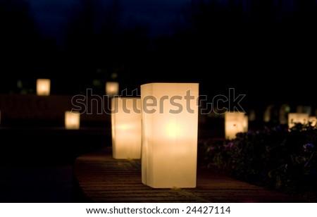 Luminaries at night - stock photo