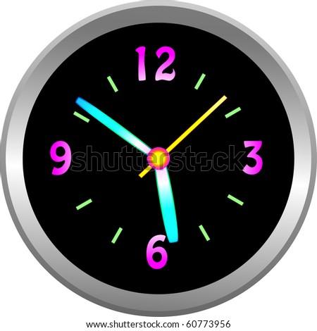 Luminous clock  face with metallic case illustration - stock photo