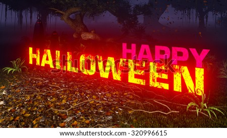 Luminous Happy Halloween text in a creepy night forest with ghostly silhouettes in the distance. Decorative 3D illustration was done from my own 3D rendering file. - stock photo