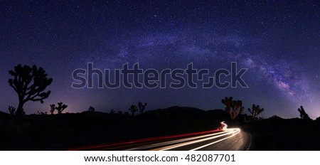 Luminous Light Landscape of Milky Way Stars Panorama