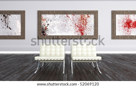 Luminous Modern Art Gallery with abstract works - stock photo