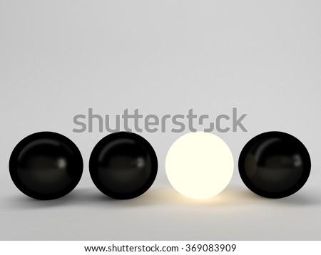 Luminous sphere. Innovation concept. 3d illustration, black VS white, dark vs light - stock photo