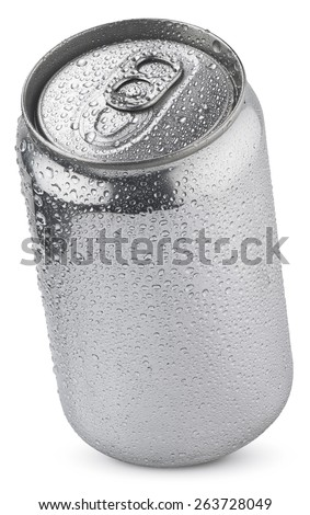 luminum soda can with water drops isolated on white  with clipping paths - stock photo