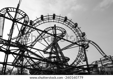 Luna park,black and white. - stock photo