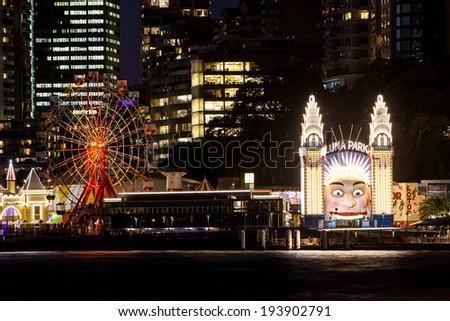 Luna Park on a clear autumn evening in Sydney, Australia - stock photo
