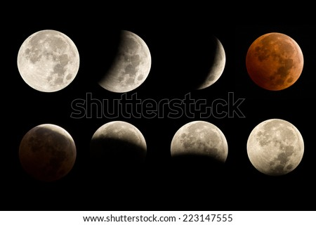 lunar eclipse sequence including total eclipse blood moon - stock photo