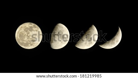 Lunar phase. Waxing Moon. Set of four pictures. - stock photo