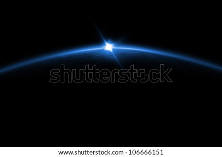 Lunar sunrise/sunset of a planet from space. Digital generation. - stock photo