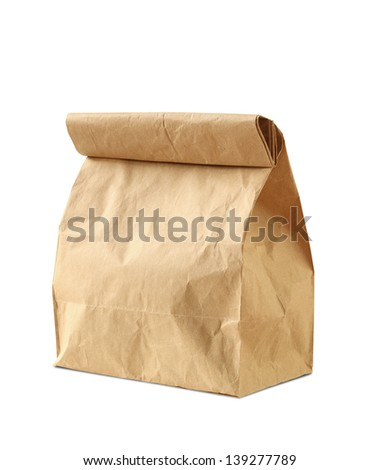 Lunch bag isolated on white background - stock photo