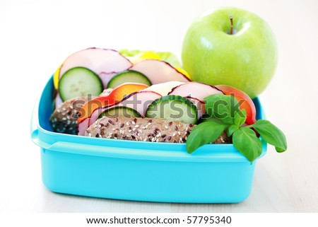 lunch box with delicious sandwich and fruits - food and drink - stock photo