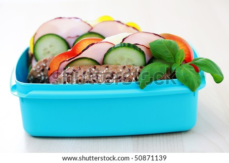 lunch box with delicious sandwich - food and drink - stock photo