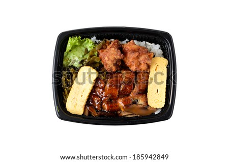 Lunch box with Japanese eel and fried chicken over rice