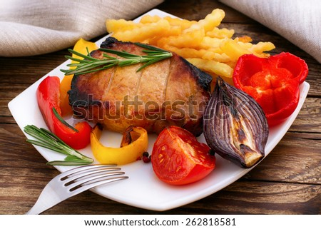 Lunch cooked meat barbeque with vegetables and spices