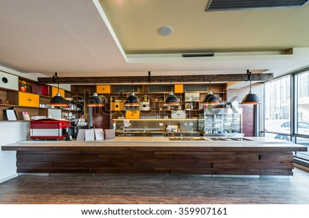 Lunch counter at modern restaurant - stock photo