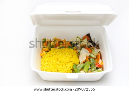 Lunch styrofoam box from fast food restaurant on white background   - stock photo