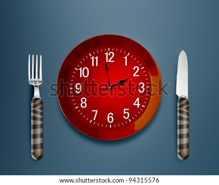 Lunch time concept, Clock in plate, knife and fork - stock photo