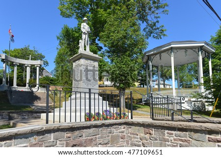 LUNENBURG, CANADA - AUG 3, 2016:  The War Memorial and Band Shell in the UNESCO World Heritage Site Lunenburg, the location for the Syfy/Showcase TV show Haven.