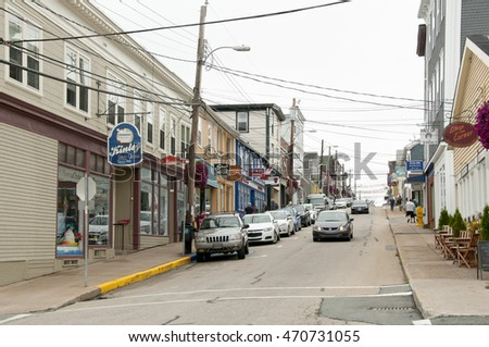LUNENBURG, CANADA - August 14, 2016: Lincoln street in the UNESCO city being the best example of planned British colonial settlement in Canada