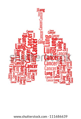 Lung Cancer Awareness text collage Composed in the shape of Lung
