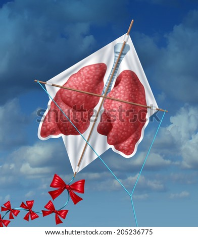 Lungs freedom clean air quality concept and healthy breathing from pollution as a flying kite in a sky background as a symbol of healthful living free from smoking and air toxins. - stock photo